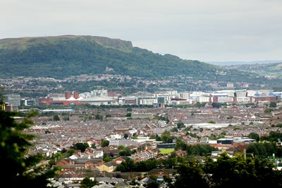Aerial view of Belfast streets, Belfast Hill and Belfast Lough