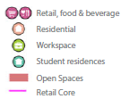 Key - Retail, food & beverage Residential Workspace Student residences Open Spaces Retail Core