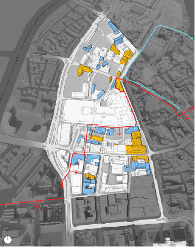 A significant section of the masterplan sits within the City Centre Conservation area and is adjacent to the Cathedral Conservation area. Yellow: Listed building. Blue: Building of local significance. Red line: City Centre Conservation Area. Blue line: Cathedral Conservation Area. (map)