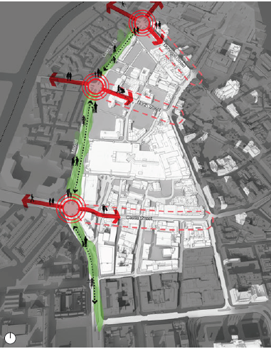 Linkages to Adjacent Neighbourhoods. Red Circles: Key Junction. Green: Public realm improvements to Millfield & Carrick Hill (map)