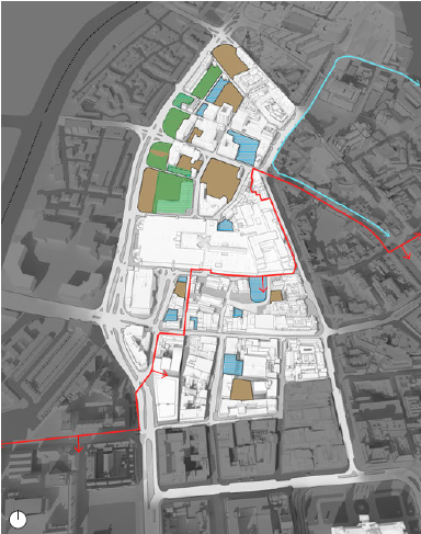 Underdeveloped Sites and Public Ownership. Blue: Under-used Sites. Brown: Surface Car Parking. Green: Land Under Public Ownership. Red line: City Centre Conservation Area. Blue line: Cathedral Conservation Area (map)