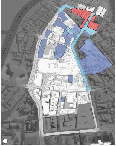 Greater Belfast Development for Ulster University - Red: Ulster University Dark Blue: Potential Development Sites. Light Blue: Streets Ahead Phase 3 (map)
