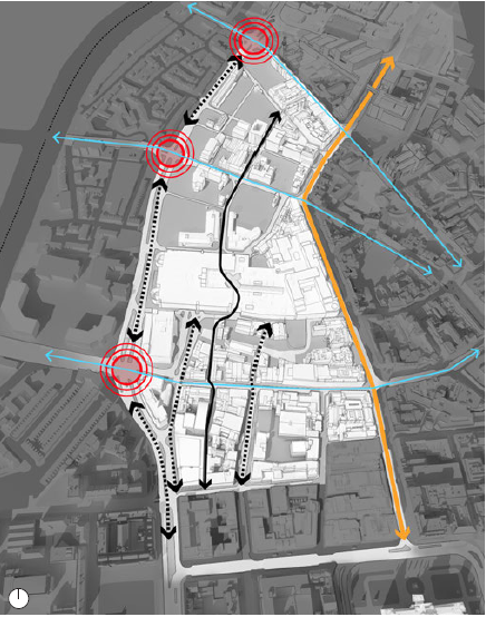 Improve North South Connections. Blue arrows: Strengthened East West Connections. Yellow arrows: Royal Avenue. Black arrows: Central Spine. Dotted arrow: Strengthened North South Connections. Red circles: Improved junctions and crossings (map)