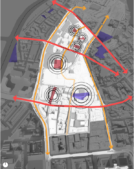 Create a Network of Open Spaces. Purple: Existing open spaces. Red: Proposed new and upgraded open spaces. Black circles: Public realm activates the surrounding. Red arrows: East-West connections North-South connections. Yellow arrows: North-South connections (map)