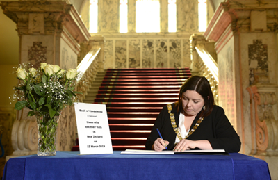 Book of Condolence opens in City Hall for victims of New Zealand attack