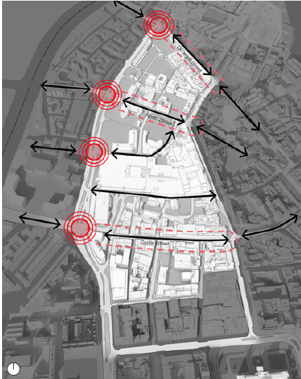 Improve East West Connections. Black arrows: Arterial connections. Red dotted lines: Upgraded High Streets. Red circles: Improved crossings (map)