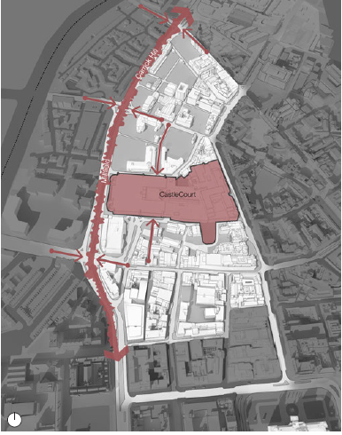 Existing Challenges: Red block: Pedestrian block. Red squwiggle: Heavy Traffic Vehicular Road. Red arrows: Access Severance (map)
