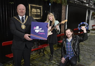 Lord Mayor of Belfast, Alderman Frank McCoubrey joined music producers Katie Richardson and George Dorrian outside Half Bap Studios for the launch of the Belfast Music Christmas Album.