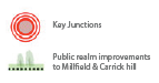 Key - Key Junctions Public realm improvements to Millfield & Carrick hill