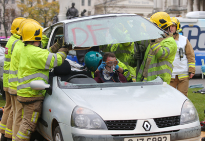 Car crash simulation drives home road safety message
